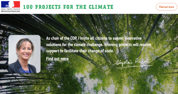 "00 projects for climate"" aims to speed up the emergence of citizen-led initiatives to combat global warming."