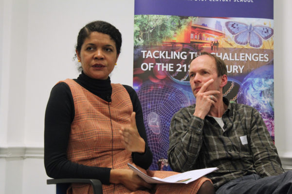 Chi Onwurah, Member of Parliament in Great Britain, and Mike Childs,  Friends of the Earth, at Manipulating the Planet: Is there a role for Negative Emissions Technologies in tackling climate change? Photo: Policy Exchange (CC BY 2.0)